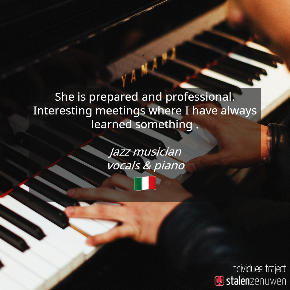 She is prepared and professional. Interesting meetings where I have always learned something. - Jazz musician